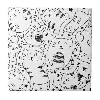 Funny sketchy dancing cats doodles pattern tiles