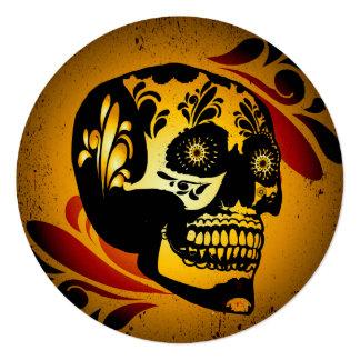 """Funny skull 5.25"""" square invitation card"""