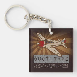 Funny Skydiving Duct Tape Square Keychain