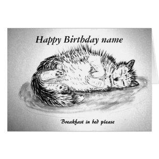 Funny sleepy cat customizable front inside card