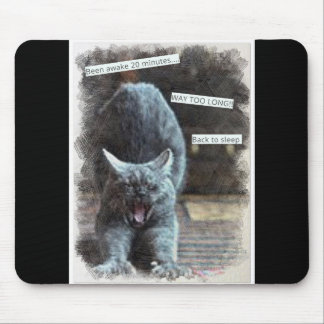 Funny Sleepy Cat Mouse Pad