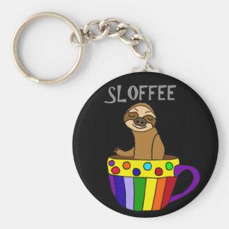 Funny SLOFFEE Sloth Drinking Coffee Design Keychain