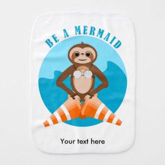 Funny Sloth Be a Mermaid Burp Cloth