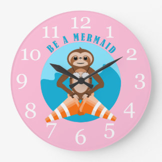 Funny Sloth Be a Mermaid Large Clock