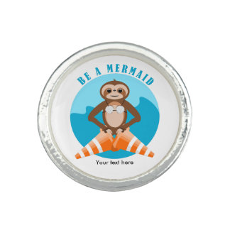 Funny Sloth Be a Mermaid Photo Rings