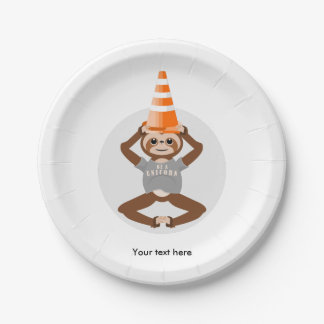 Funny Sloth Be A Unicorn 7 Inch Paper Plate