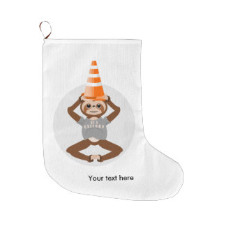 Funny Sloth Be A Unicorn Large Christmas Stocking