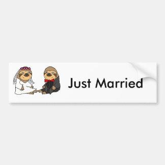 Funny Sloth Bride and Groom Wedding Bumper Sticker