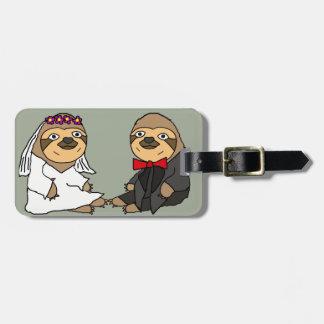 Funny Sloth Bride and Groom Wedding Luggage Tag