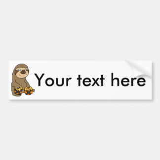 Funny Sloth Playing the Bongo Drums Bumper Sticker