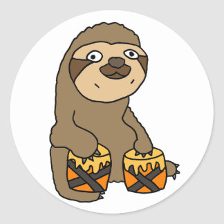 Funny Sloth Playing the Bongo Drums Classic Round Sticker
