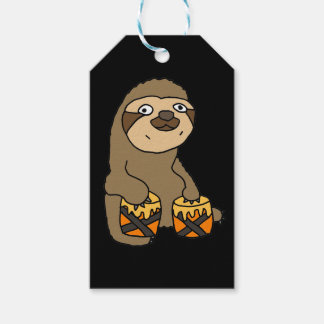 Funny Sloth Playing the Bongo Drums Gift Tags