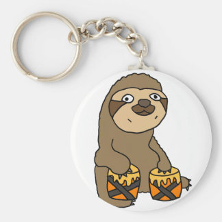 Funny Sloth Playing the Bongo Drums Keychain