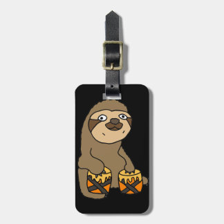 Funny Sloth Playing the Bongo Drums Luggage Tag