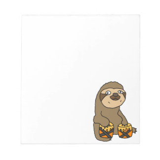 Funny Sloth Playing the Bongo Drums Notepad