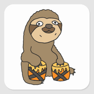 Funny Sloth Playing the Bongo Drums Square Sticker