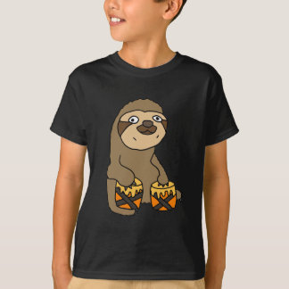 Funny Sloth Playing the Bongo Drums T-Shirt