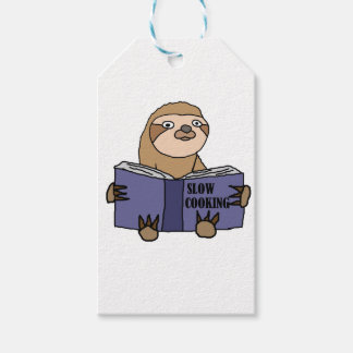 Funny Sloth Reading Slow Cooking Book Gift Tags