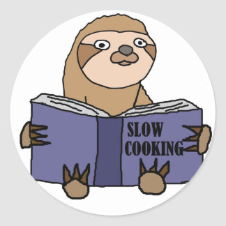 Funny Sloth Reading Slow Cooking Book Round Sticker