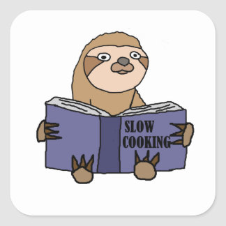 Funny Sloth Reading Slow Cooking Book Square Sticker