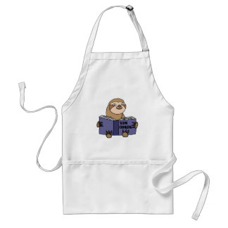 Funny Sloth Reading Slow Cooking Book Standard Apron