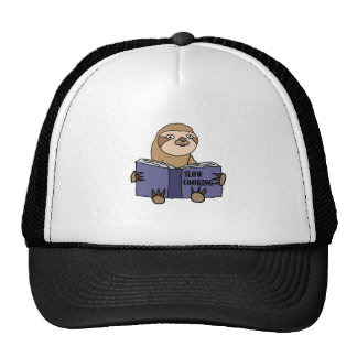 Funny Sloth Reading Slow Cooking Book Trucker Hat