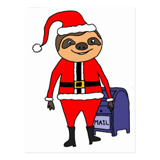 Funny Sloth Santa Claus Christmas Cartoon Postcard