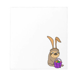 Funny Sloth Wearing Easter Bunny Ears Notepad