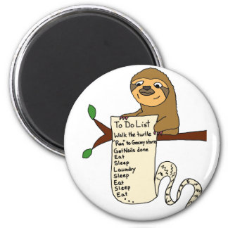 Funny Sloth with Long To Do List 2 Inch Round Magnet
