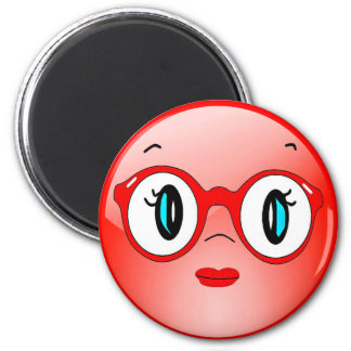 Funny Smiley Face with Glasses Refrigerator Magnet