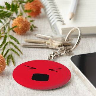 Funny smiley hurting face basic round button keychain