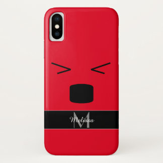 Funny smiley hurting face red black Monogram Case-Mate iPhone Case