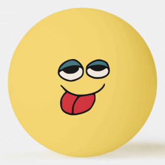 Funny Smiley Sticking Out Tounge Ping Pong Ball