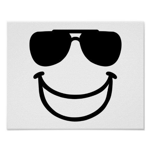 Funny smiley sunglasses print