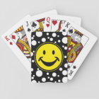 Funny Smiley yellow & Dots + your backg. & ideas Playing Cards