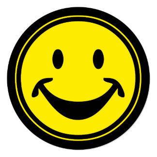 "Funny Smiley yellow + your backg. & ideas 5.25"" Square Invitation Card"