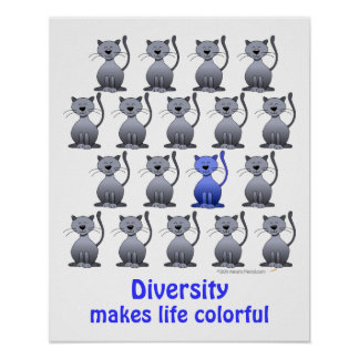 Funny Smiling Cat Diversity School Motivational Poster