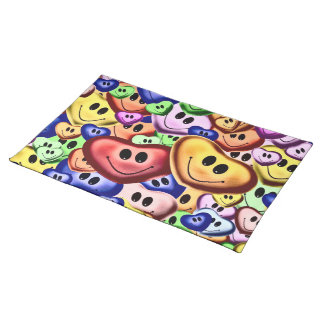 Funny smiling hearts A Placemat