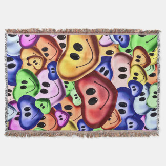 Funny smiling hearts A Throw Blanket