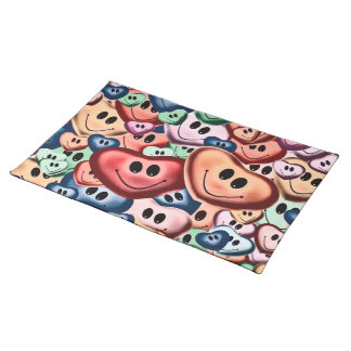 Funny smiling hearts B Placemat