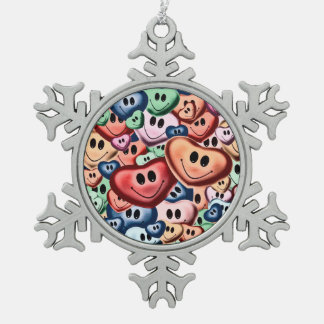 Funny smiling hearts B Snowflake Pewter Christmas Ornament