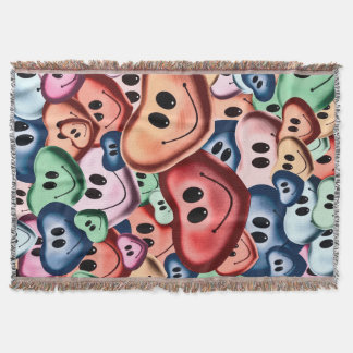 Funny smiling hearts B Throw Blanket