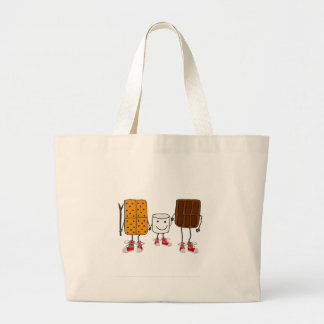 Funny Smores Characters Cartoon Large Tote Bag