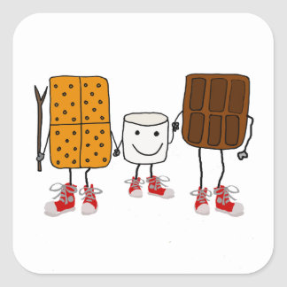 Funny Smores Characters Cartoon Square Sticker