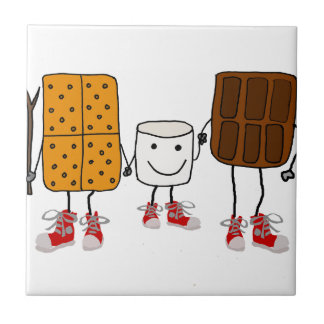 Funny Smores Characters Cartoon Tile