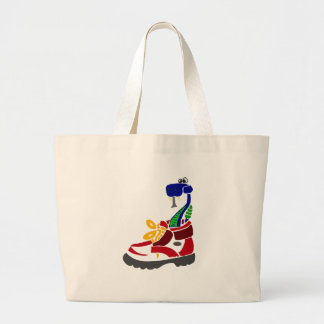 Funny Snake in Hiking Boot Large Tote Bag