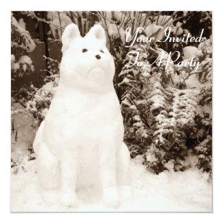 "funny snow akita snowman christmas photograph 5.25"" square invitation card"