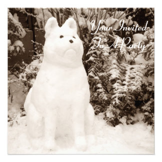 funny snow akita snowman christmas photograph invites