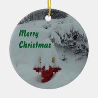 Funny Snow-covered Fire Hydrant Ceramic Ornament