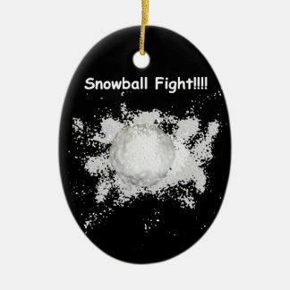 Funny Snowball Fight Christmas Ornament